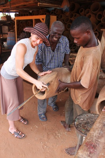 Djembe making in Ghana, Africa
