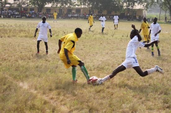 Soccer match in Ghana, Africa