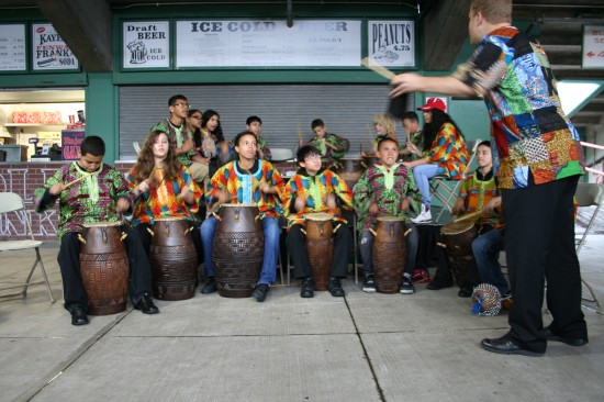 Student African drumming ensemble plays Agbekor